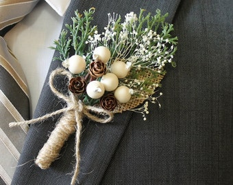 Rustic Boutonniere Groom Boutonniere Groomsman Boutonniere Pine Cone Boutonniere Mens Wedding Boutonniere  Weddings  Boutonnieres