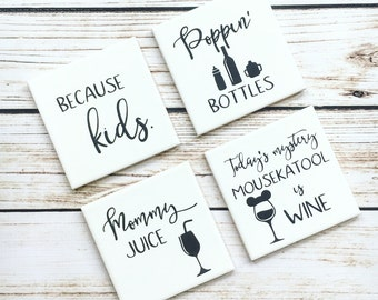 Mommy Drink Coasters // Ceramic Drink Coasters // Drink Up // Hostess Gift // Wine Gift