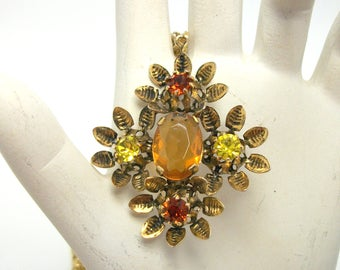 Vintage Austrian Crystal Pendant - Floral Setting with Amber Stones