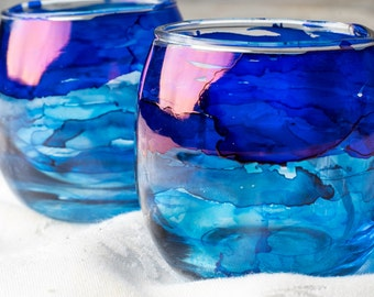 Two Blue Hand-Painted Candleholders, Blue Votive Holders, Hand Painted Candleholders with Candles