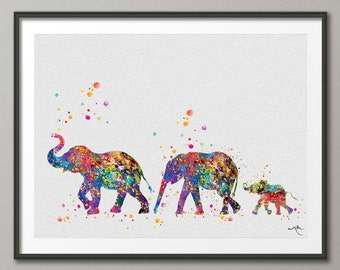 Elephant Family Lesbian Family Art Print Watercolor Painting Wedding Gift idea LGBT, Gay Pride, Gay Art, Lesbienne Lesbian Art [NO 656]