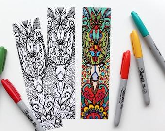 Bookmark caribou, bookmark coloring
