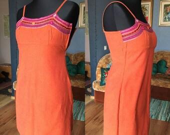 Vintage summer - holiday dress / Size M-L / 80s
