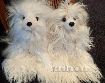Soft Baby Alpaca Suri Teddy Bear Handmade Stuffed Toy Animal with Baby Alpaca Fur Gift Idea