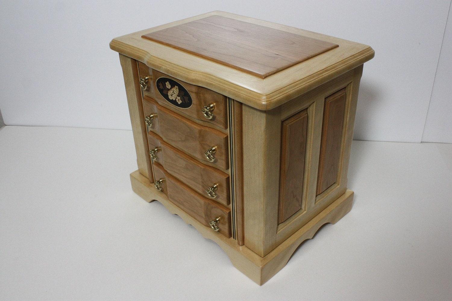 Handmade Birch with Cherry Wood Jewelry Box For Sale