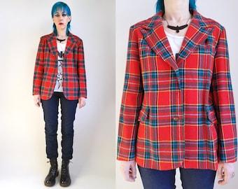 70s Clothing Plaid Blazer Holiday Red Green Plaid Vintage Wool Christmas Jacket 70s Jacket 70s Blazer Preppy Plaid Jacket Womens Size Medium