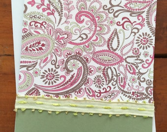 Greeting Card | Blank | All Occasion  | Sage Green with Sage and Rose Paisley