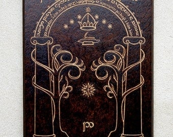 CUSTOM Moria The Lord of the Rings inspired Doors of Durin pyrography art