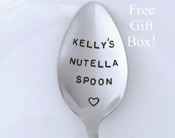 Nutella Spoon-With YOUR Name! Hand Stamped Spoon-Birthday Gift-Nutella Lover-Best Selling Item-Gift under 20-