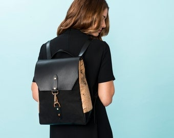 Cork Leather and Canvas Backpack, Small Black Backpack Purse, 13 in Laptop Backpack, Small Backpack, Leather Strap Bag, Travel Backpack