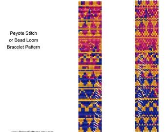 Tribal 35 Peyote Stitch Bracelet Pattern and Bead Loom Bracelet Pattern, Delica Bead Bracelet Pattern