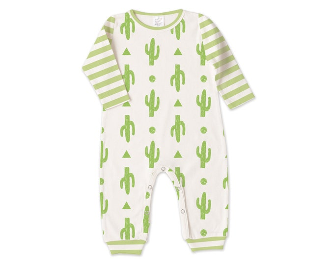 SUMMER SPECIAL! Newborn Baby Outfit, Newborn Coming Home Outfit, Baby Boy Girl Cactus Romper, Cactus Nursery, Baby Minimalist, Green Stripe