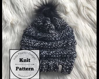 Knitting Pattern //  Textured Slouchy Knit Hat // Toddler - Adult  // Good Vibes Beanie