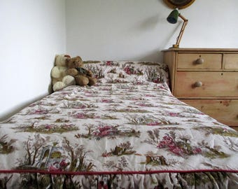 Vintage French Bedspread, Toile De Jouy, French Bed Cover, Rondo by Pascaline Villon, Toile Bed Linen, French Country, Single Bed Cover