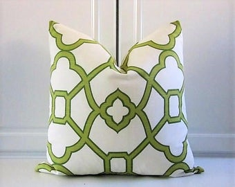 Ronnie Gold Decorative Pillow Cover- Bali Pistachio Green Trellis-18x18,20x20,22x22,24x24