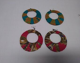 Ankara fabric circle earrings