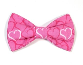 Valentine's Pink Hearts Dog Bow Tie, love, pet bow tie, collar bow tie, wedding bow tie