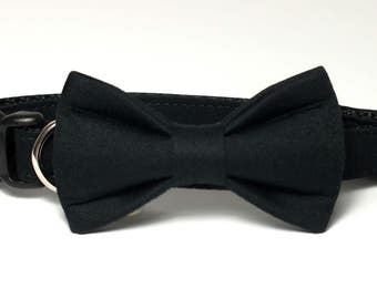 Black Sateen Dog Collar Bow Tie set