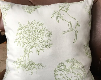 GOT Sigils of Westeros throw pillow, Light blue and green, 16 by 16 inches