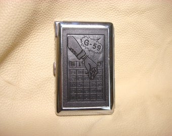 Vintage Cigarette  Case With Built -in Lighter Depicting Bingo    #69