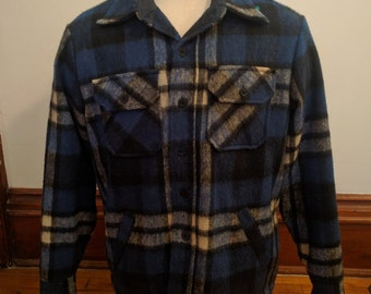 Vintage 70s 80s Insulated Flannel  Sears Men's Store Outerwear Blue Black White