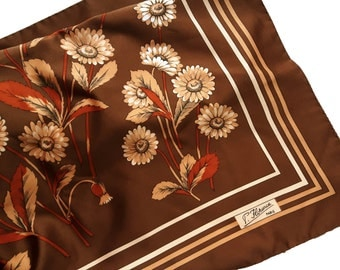 Vintage polyester scarf with flowers autumnal colours P. Florence Paris