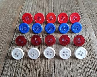 Decorative Button Thumbtacks, Thumb Tacks, Push Pins, Red Blue and White Set of 20 Office Decor, Home Decor, Bulletin Board, Cork Board