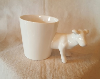 White Glazed Ceramic Cow Vase/Planter/Mug/Desk Accessory