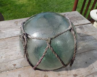 Authentic Extra Large Vintage Glass Fishing Float With Rope Netting Dark Green Chunky Glass Original Used Condition Garden or Home Decor #3