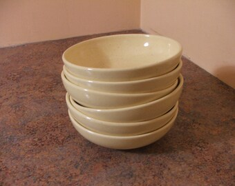 Set of Six (6) Vintage 1950s Santa Anita Ware California Modern Speckled Yellow Berry / Fruit Bowls