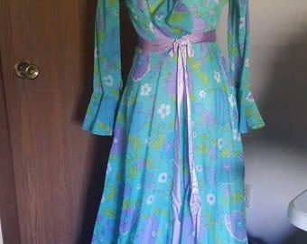Vintage 1960s Handmade Blue and Purple Floral Dress