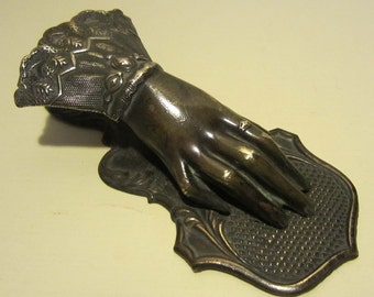 Antique brass letter holder clip, Victorian, hand, very detailed and finely shaped!! late 1800's