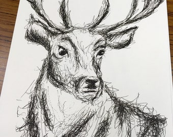 Original A4 stag watercolour and ink painting. Watercolour deer original artwork, stag watercolour