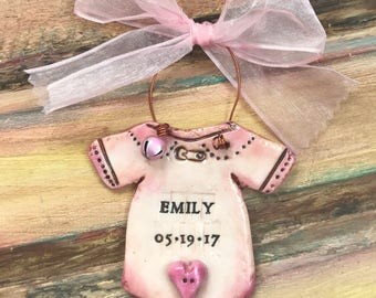 Vintage-Inspired Personalized Baby Onesie Ornament