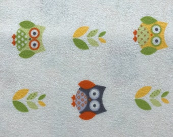 Colorful owls flannel fabric