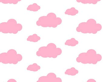 Pink clouds flannel fabric