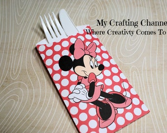 Dark Pink Minnie Mouse #1 Flatware Pouch Sets-Minnie-Minnie Mouse-Silverware Pouch-Flatware Pouch-Pink Minnie Mouse