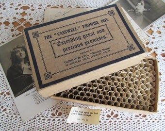 """Poignant antique """"The Casswell Promise Box""""~Filled with bible quotations to uplift & guide~In lovely vintage condition"""