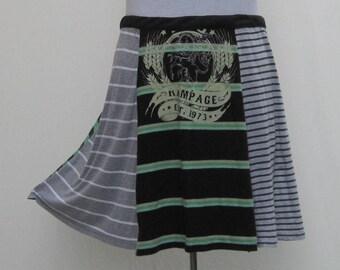 Green striped Skirt, plus size t skirt, upcycled skirt, 1x 2x 3x 4x, green t skirt, gray grey skirt, gray t skirt, striped t skirt, cover up