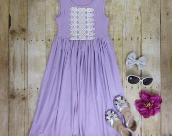 Girls Lilac Maxi Dress, Girls Maxi Dress, Girls Long Dress, Summer Maxi Dress, Lavender Maxi Dress Sizes 4/5, 6/6x, 7/8, 10/12 Ready to Ship