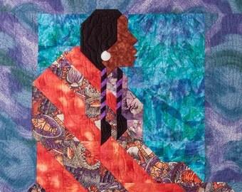 "Fiber Art Quilt Original ""Woman of the Water"" by Judith Zehner"