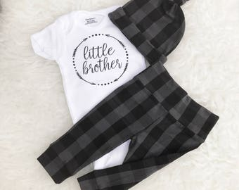 Charcoal Plaid Little Brother Set