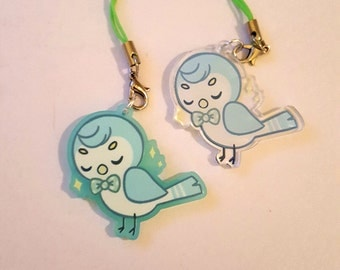 Blue Bird Charm Keychain