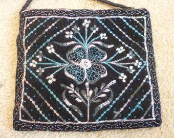 Black Velvet evening purse made in India.