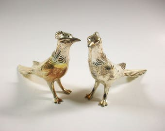 Metal Birds Salt & Pepper Shakers, Vintage Silver Tone Salt and Pepper Shaker Set, Pheasant Salt and Pepper Set, W. B. Mfg Co C94/2