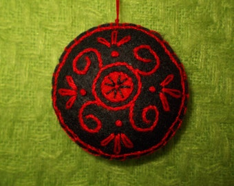 Embroidered Felt Ornament,Black-Red Bag Charm,Key Chain,Christmas Gift Decor,Pincushion,Freeform Embroidery,Car Ornament,Goth Home Decor