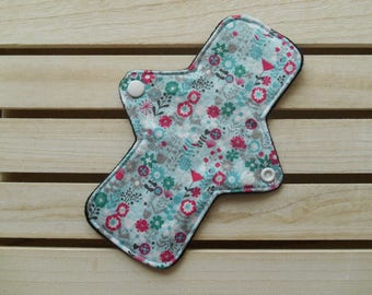 Reusable Slim Fit Panty Liner Blue Floral Print Cotton Bamboo Fleece Cloth Sanitary Pad