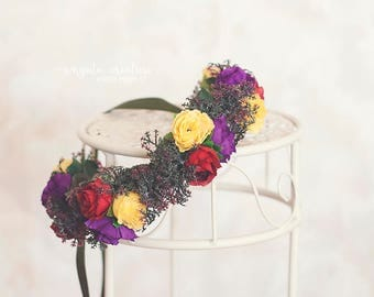 Flower tie back/crown. Can be used from 6 months old (can fit an adult as well).Yellow, red, purple.Photo prop. Ready to send