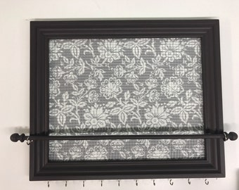Custom Floral framed jewelry organizer / jewelry holder
