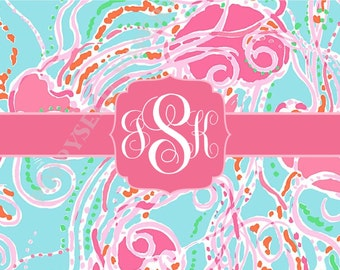 Lilly Pulitzer personalized folded note cards, Lilly Pulitzer stationery, monogram, preppy, Jellies pattern